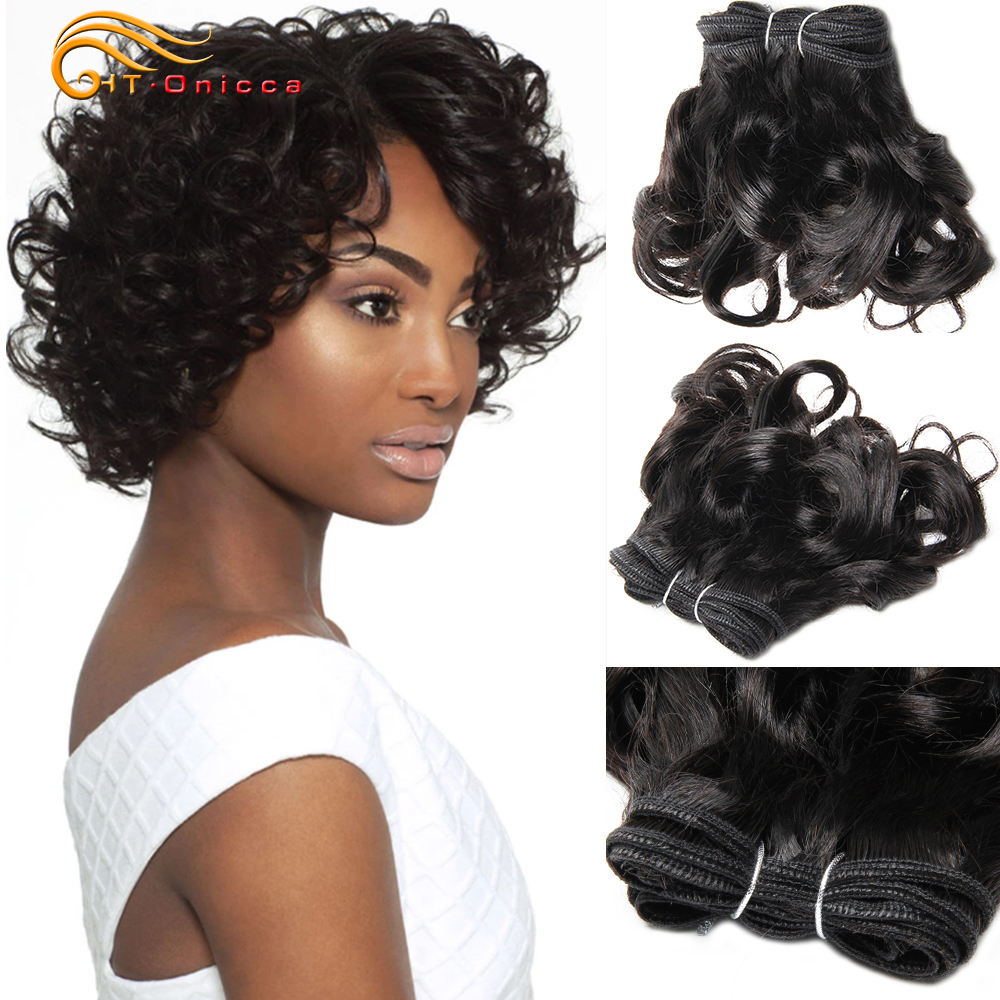 Htonicca, норковые бразильские волосы, двойные волосы remy, 6 шт./лот, Funmi Hair, 100% человеческие волосы, пряди, 8 дюймов, для женщин, можно сделать парик