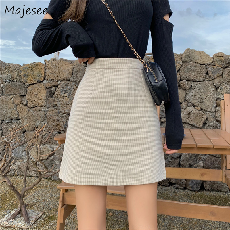 Skirts Women Solid Mini Skirt Autumn Winter A-Line All-match Simple Korean Style Womens High Waist Chic Vintage Fashion Harajuku