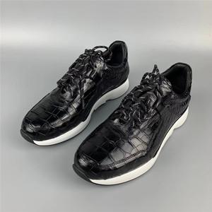 Image 4 - Authentic Crocodile Belly Skin Male Casual Black Sneakers Real Alligator Leather High Quality Soft Rubble Sole Men Lace up Shoe