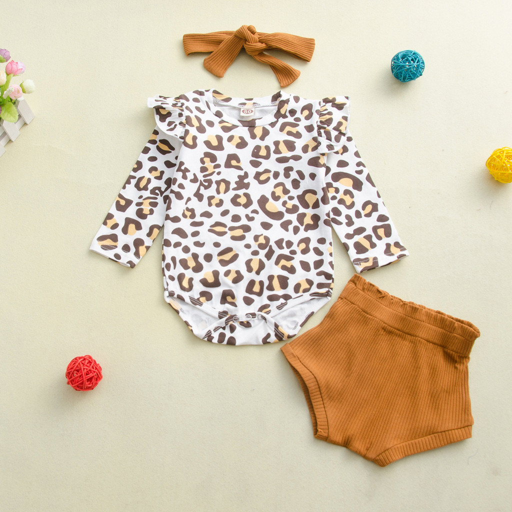 UK Newborn Baby 3Pcs Leopard Printed Romper Tops Bandage Pants Headband Outfits