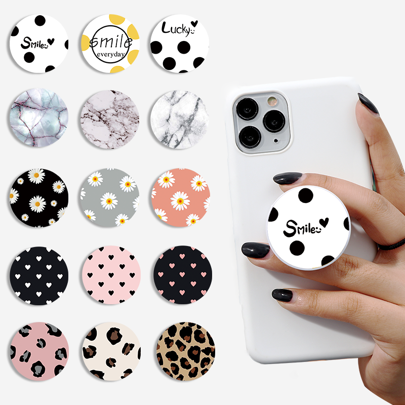 Universal Mobile Phone Holder Daisy Marble Fashion Phone Expanding Stand Finger Ring Holders For IPhone Phone Brackets Kickstand