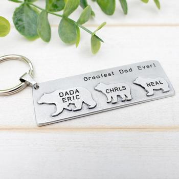 цена на Personalized Papa Bear Keychain Father's Day Gift Daddy Bear Key Chain Papa Keyring Gift For Him