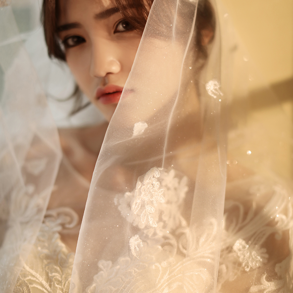 2020 New flash 4 Meters long 3 meter wide One Layer Lace Tulle Long Wedding Veil New White Ivory 4 M Bridal Veil with Comb