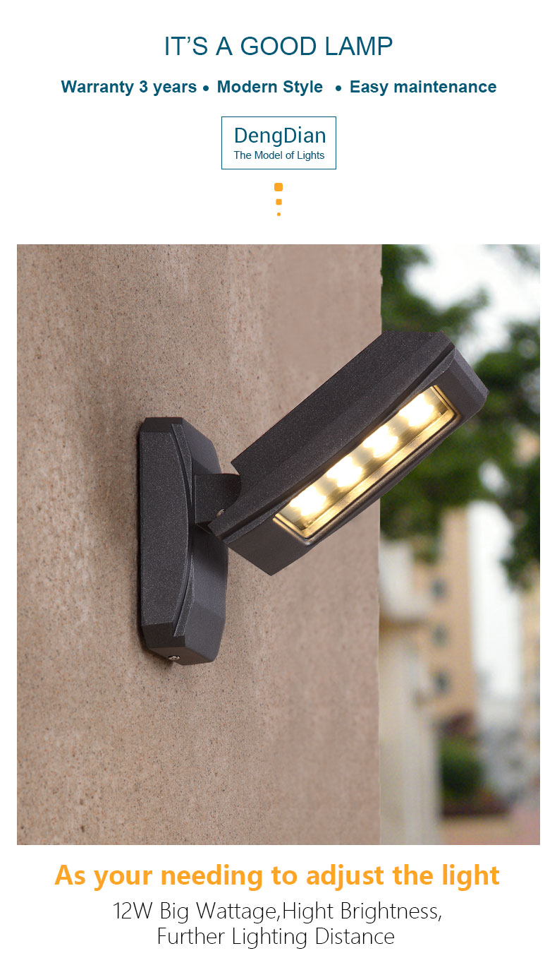 Adjustable Led Outdoor Lighting Home Industrial Wall Light Lamp Exterior Porch Lights For Balcony Hallway Aisle Corridor 12w Outdoor Wall Lamps Aliexpress