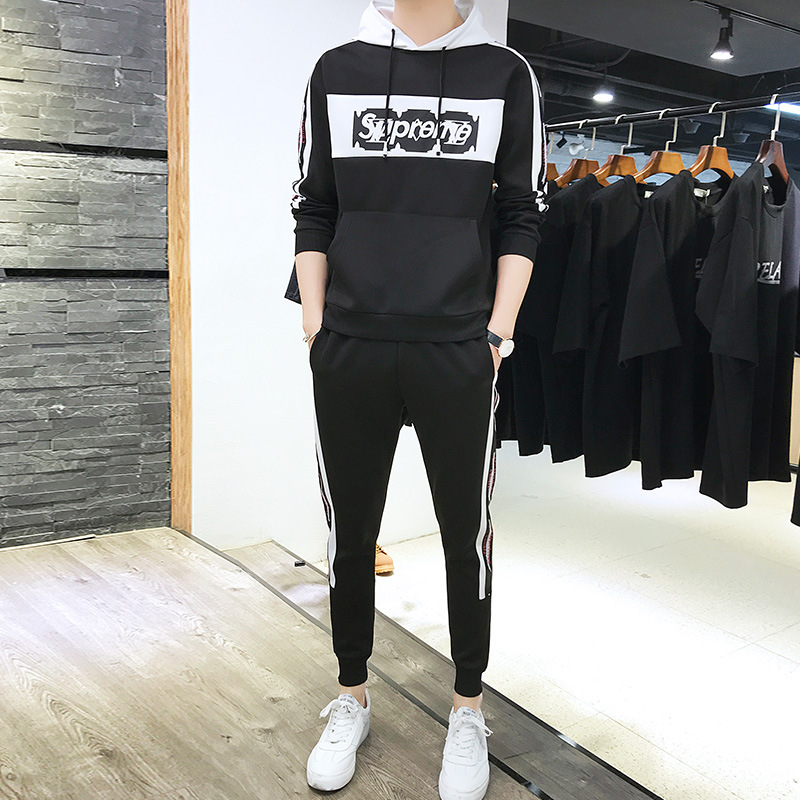 2019 Spring New Arrival Men Trend Hoodie Suit Sports Casual Jogging Suits Fashion Hoodie Student Uniform Men'S Wear