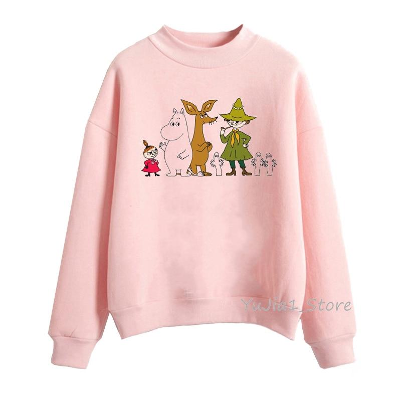Cute Whisky Design Moomins Hoodies Women Harajuku Kawaii Hoodie Pink Funny Sudadera Mujer Winter Clothes Tracksuit Sweatshirts