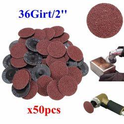 50 sztuk 36 Grit papier ścierny tarcze szlifierskie 2 ''typ blokady rolki R Roloc dla Dremel narzędzie ścierne tarcze szlifierskie zestaw