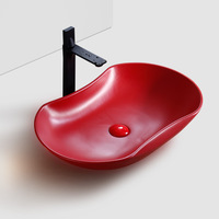 Mordern Red Ceramic Bathroom Sink Art Washbasin Household Above Counter Basin Red White Bowl Ez Shampoo Basin