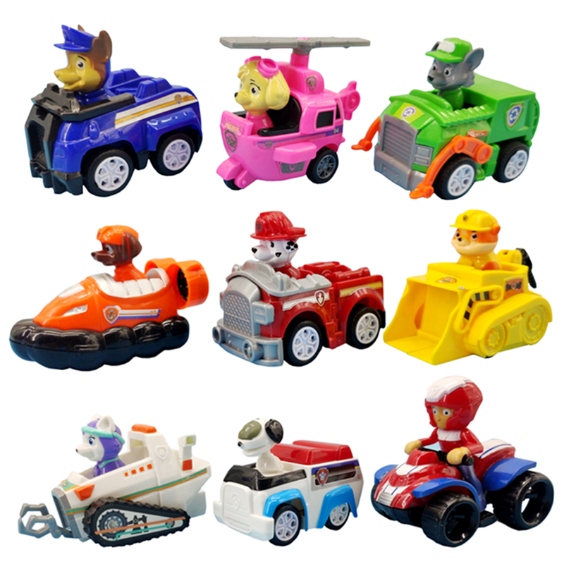 9 Pcs Paw Patrol Dogs Rescue Set Puppy Patrol Toys Cars Patrulla Canina Ryder Anime Action Figures Model Car Toy Birthday Gift