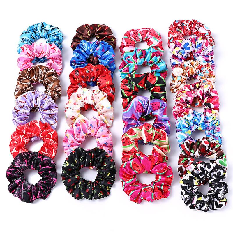 Vintage Watermelon Candy Love Heart Floral Print Satin Hair Scrunchie Hair Rope Hair Rubber Hair Band Hair Accessories