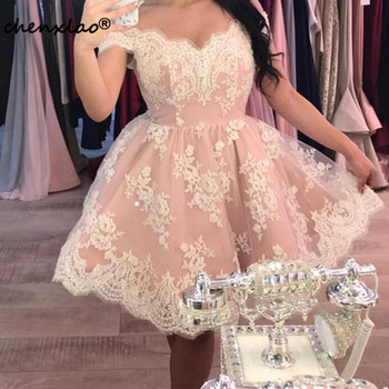 2020 New Listing Homecoming Dress Short V-neck Tulle And Lace Homecoming Dresses Off The Shoulder Short Party Gowns фото