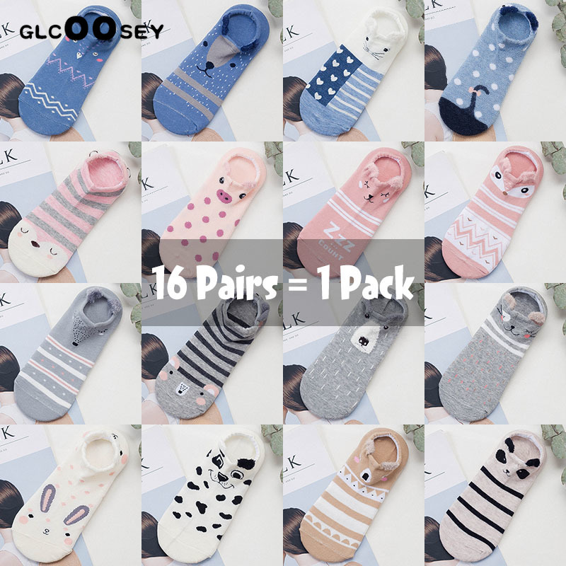 16 Pairs / Pack Female Cute Animal Cotton Socks Kawaii Boat Socks Cat Dog Summer Women Short Socks Slippers Casual Soft Funny