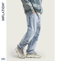 Инфляция модные Для мужчин s джинсы синего цвета с граффити графический принт Для мужчин свободного кроя Прямые джинсы уличной Для мужчин s