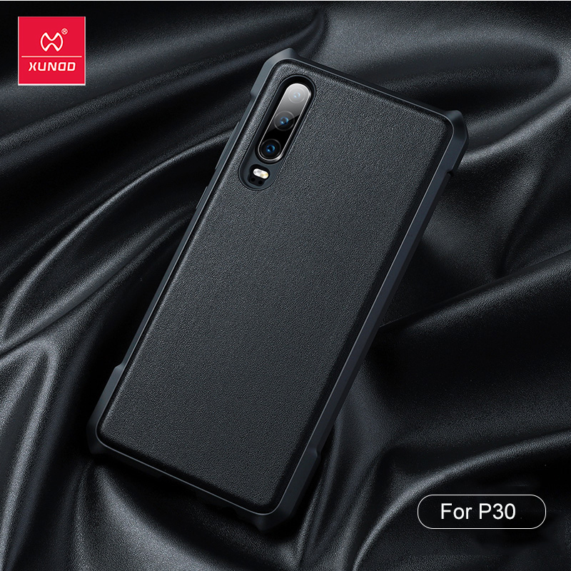 XUNDD Shockproof Case For Huawei P30 Case Vegan Leather Case Plain Protective Airbag Shell Cover For Huawei P30 Cover