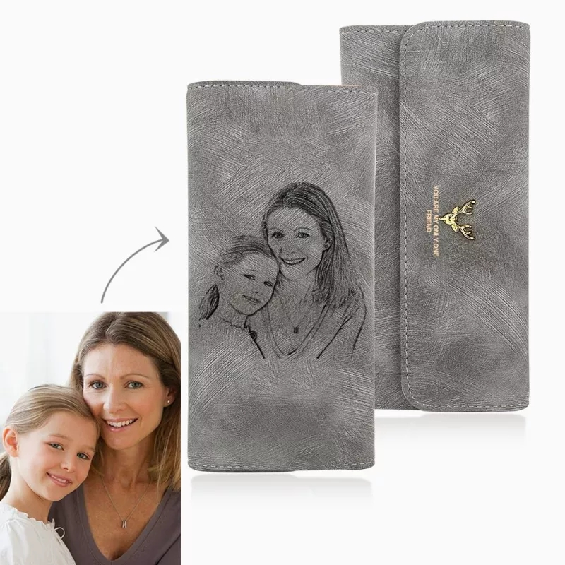 Custom Picture Engraving Wallet Women's Photos Engraved Trifold Photo Wallet Long Section Hand Customize Mother's Day Gift