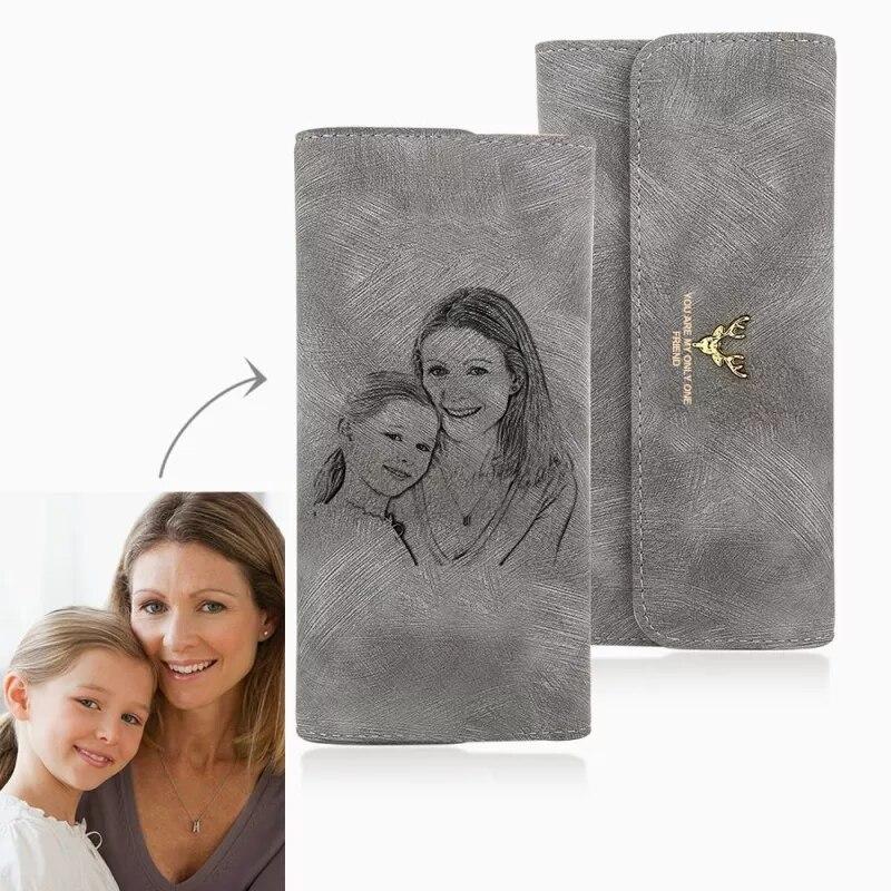 Zdjęcie na zamówienie grawerowanie portfel damskie zdjęcia grawerowane Trifold zdjęcie portfel długi odcinek ręcznie dostosuj prezent na dzień matki
