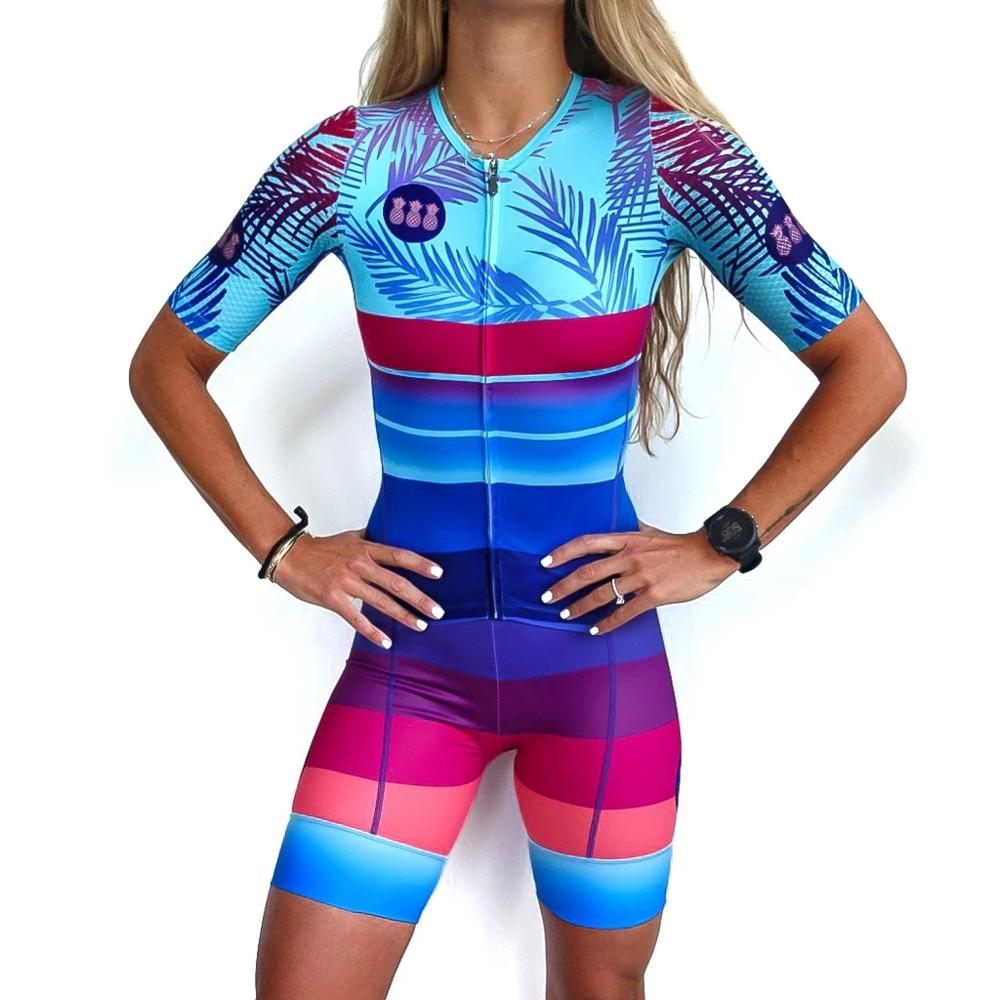 TRES PINAS Skinsuit Women's Bicycle Triathlon Suit Custom Retro Clothing Sets Cycling speedsuit Breathable Road cycle body Set