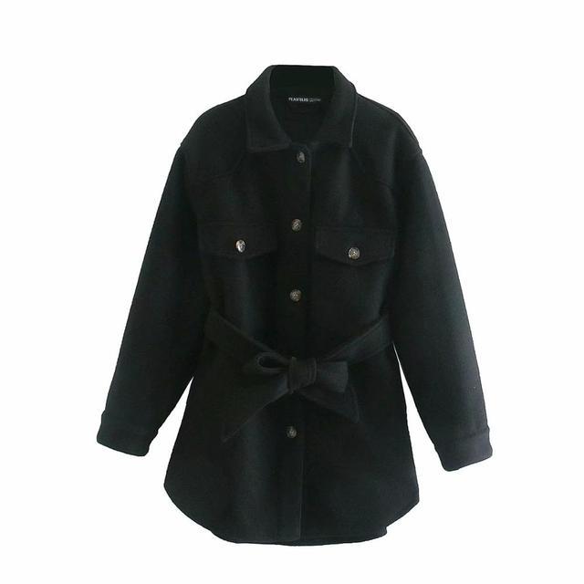 XNWMNZ Za Women 2020 Fashion With Belt Loose Woolen Jacket Coat Vintage Long Sleeve Side Pockets Female Outerwear Chic Overcoat 5