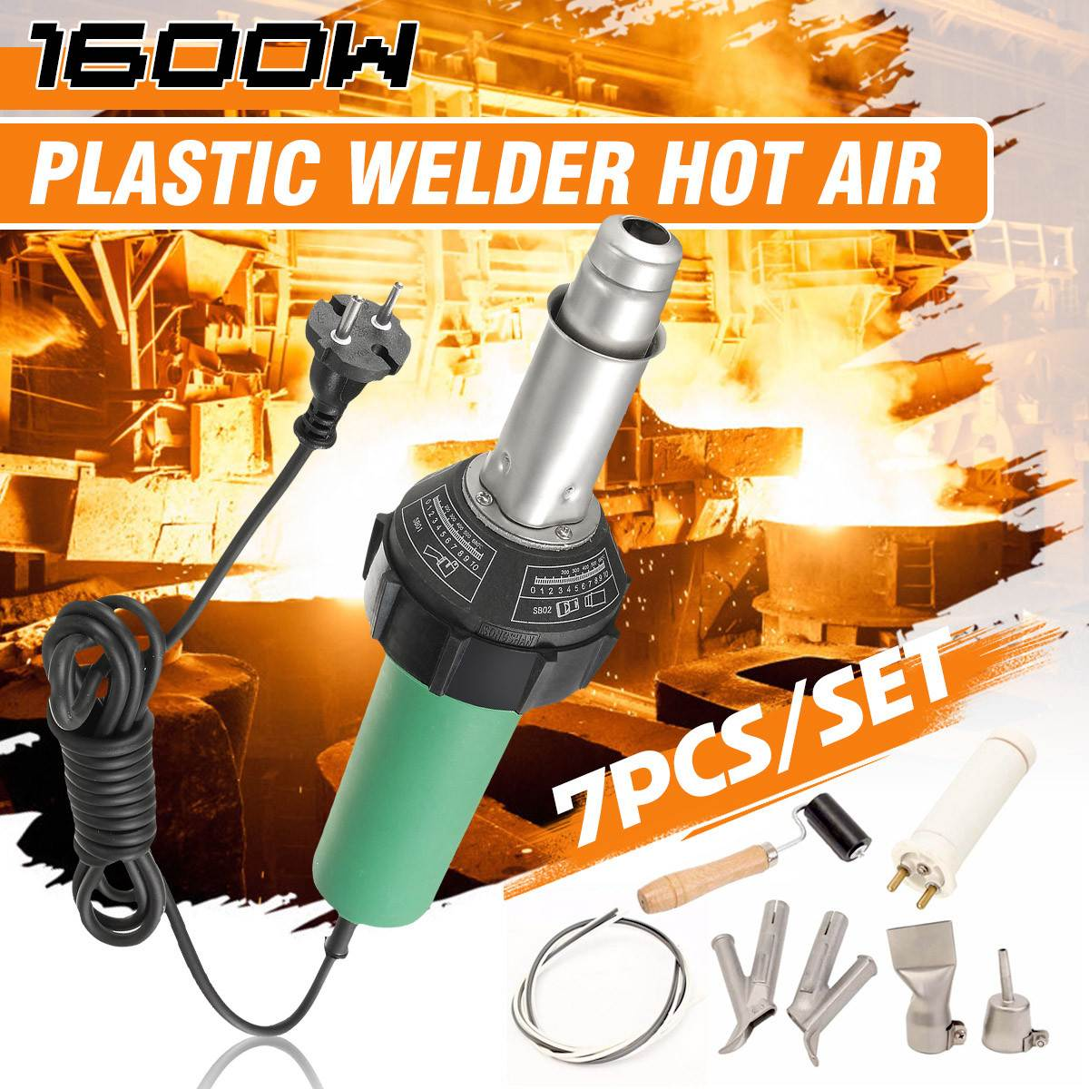 7PCS/Set AC 220V 1600W 50/60Hz Hot Air Torch Plastic Welding-Gun For Welder + Nozzle Welding+Heating Lement