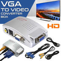VGA a interruptor RCA Box, PC a Monitor AV, adaptador/convertidor de vídeo compuesto S