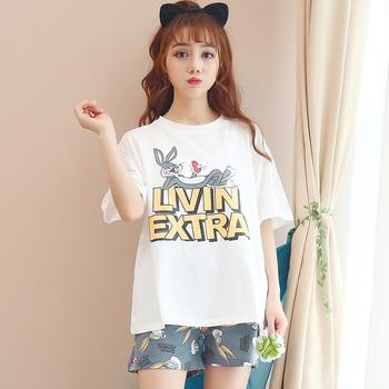 Hot sale Summer Shorts Pajama Sets for Women Short Sleeve Sleepwear Cute Girls Cartoon Pyjama Homewear Pijama Mujer Home Clothes 18