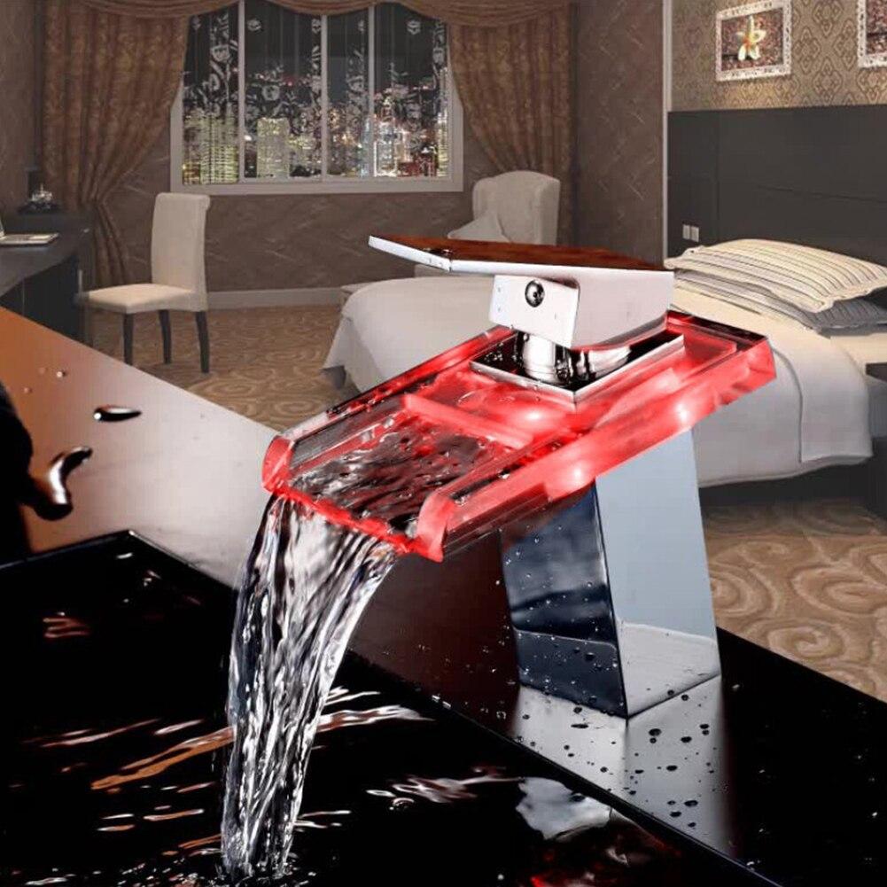 LED robinet de lavabo en laiton cascade température couleurs changement salle de bain mélangeur robinet pont monté lavabo robinets en verre - 2