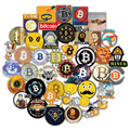 50PCS Bitcoin & Dogecoin Stickers Pack Virtual Currency Graffiti Decal Sticker For Laptop Notebook Guitar Stationery Pegatina
