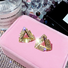 S925 silver needle triangle crystal temperament personality 100 tide person ear nail network celebrity retro short hair earring