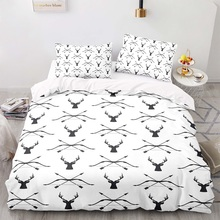 Duvet-Cover-Set Size-Bedding King with Pillowcase 135200 Antlers-Pattern Retro-Style