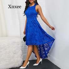 Цветочное кружевное женское однотонное платье без рукавов с