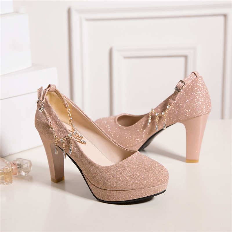 Fashion Female High Heels Sexy Shoes Luxury Gold Silver Pink Women's Heels Pumps Party Office Wedding Shoes New Designer 4