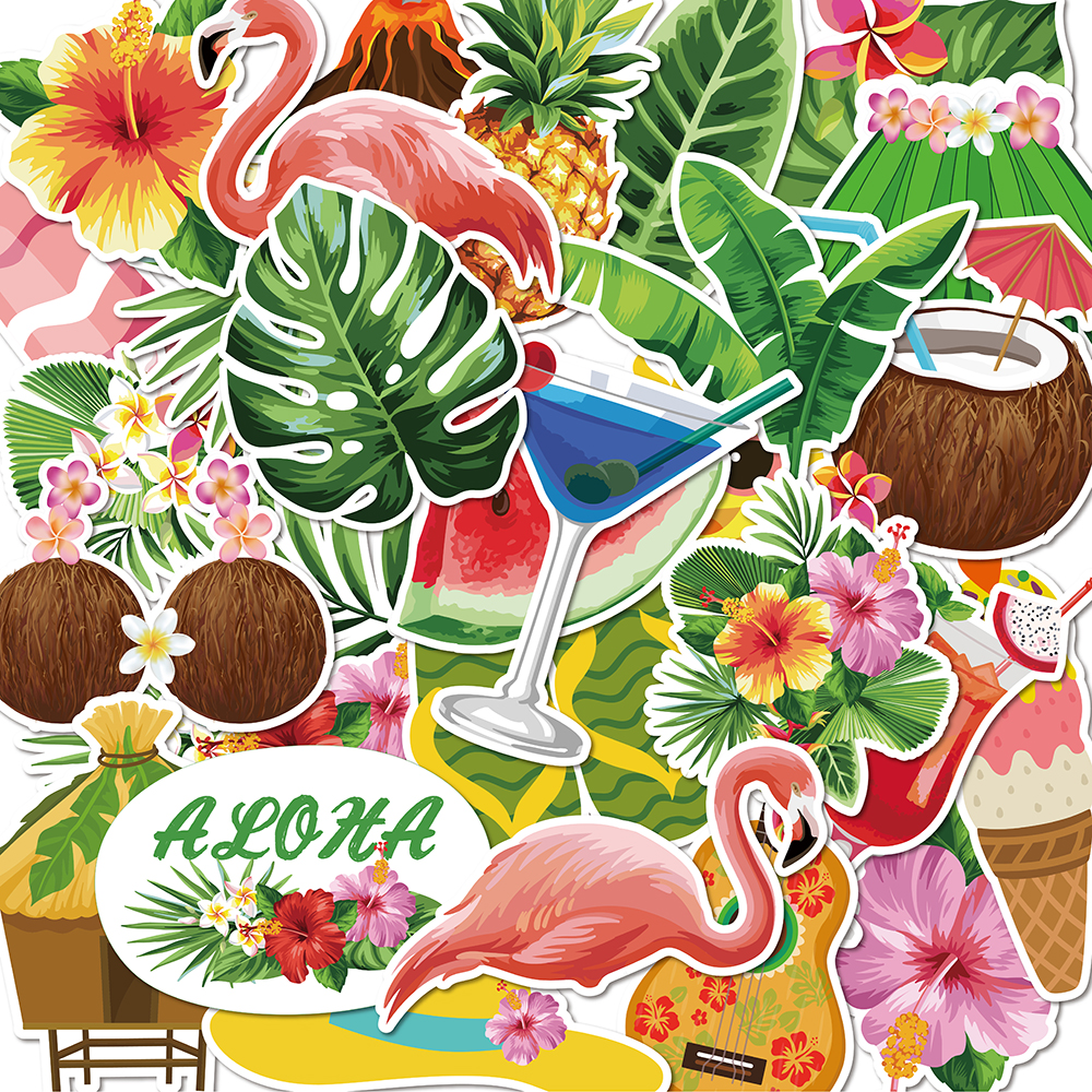 50pcs Summer Beach Hawaii Stickers ALOHA Party Decoration Coconut Jungle Flamingo Stickes Waterproof Luggage Skateboard Stickers image
