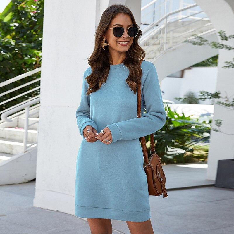2020 New Autumn Winter Women's Sweatshirt Dress O Neck Long Sleeve Fashion Solid Loose Pocket Ladies Mini Dress Vestidos