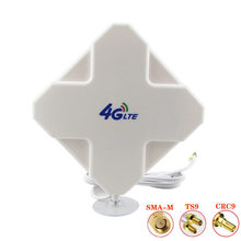 Antena larga direcional exterior do mimo da faixa 28dbi do oi-ganho 3g 4g lte 700-2700mhz 3 medidores antena do painel rg174