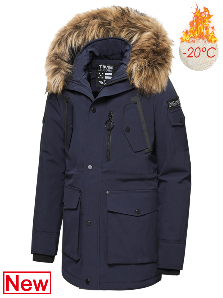 Coat Men Outwear Jacket Parkas Hooded-Pockets Faux-Fur-Collar Waterproof Long Winter