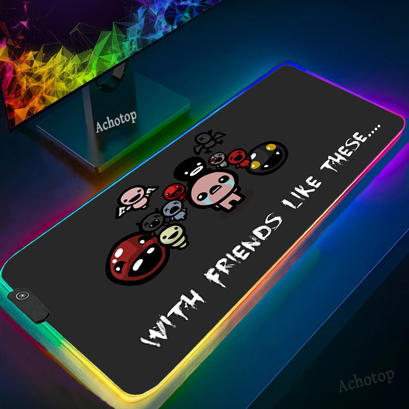 Rgb Gaming LED Mouse Pad Pc Gamer Complete Large Table Computer Backlit Mousepad Binding of Isaac Desk Mat Desktops for Computer
