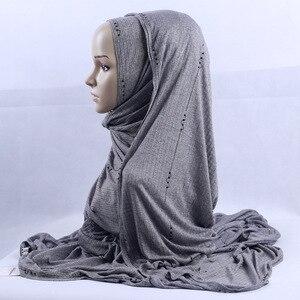 Image 4 - 200x120cm KASHKHA Brand Lavorato A Maglia Lunga Sciarpa di Strass Ceco Musulmano Velo Hijab Diamanti Di Lusso Della Banda Wrinked Impacchi di Testa