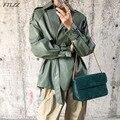 FTLZZ 2021 Neue Frühling Herbst Frauen Faux PU Leder Casual Weibliche Streetwear Outwear Leder Jacke twith Gürtel Mantel