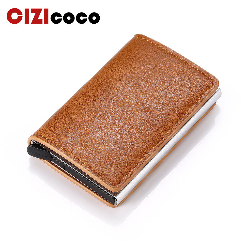2020 Credit Card Holder Men And Women Metal RFID Card Holder Vintage Aluminium Box Crazy Horse PU Leather Fashion Card Wallet
