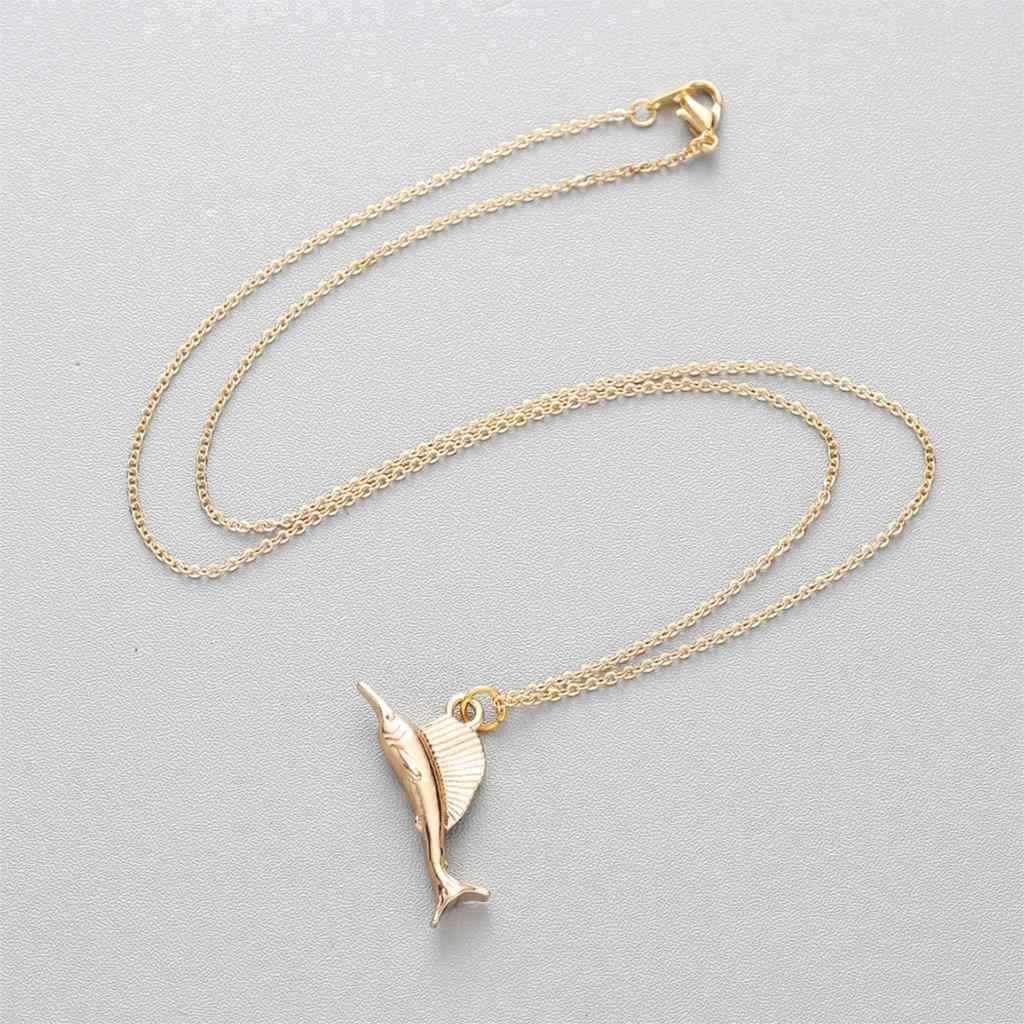 2 色ゴールド & シルバーメッキラッキー馬鹿クジラ猫シェルロバキリン Aniaml ペンダントネックレス女性のジュエリーネックレス
