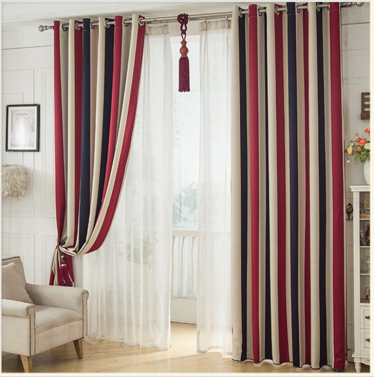 Mediterranean  Curtain For Living Dining Room Bedroom Vertical Stripes Curtain Fabric Pastoral Shade Children's Bedroom Curtain