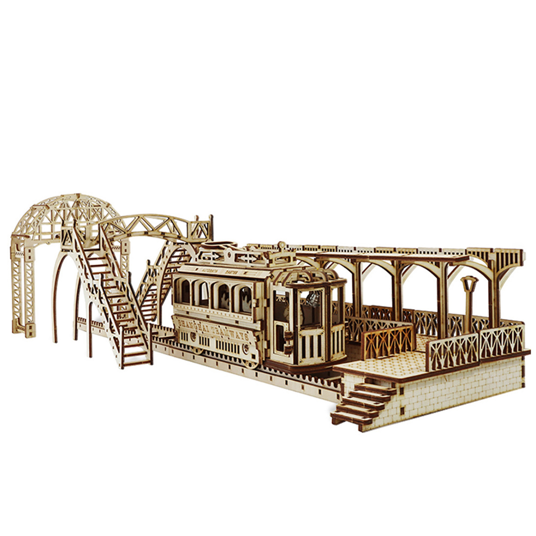 3D Wooden Puzzle DIY Tram Station Craft Kits Educational Assembly Toy  Toys For Kids Birthdaty Gifts 2020