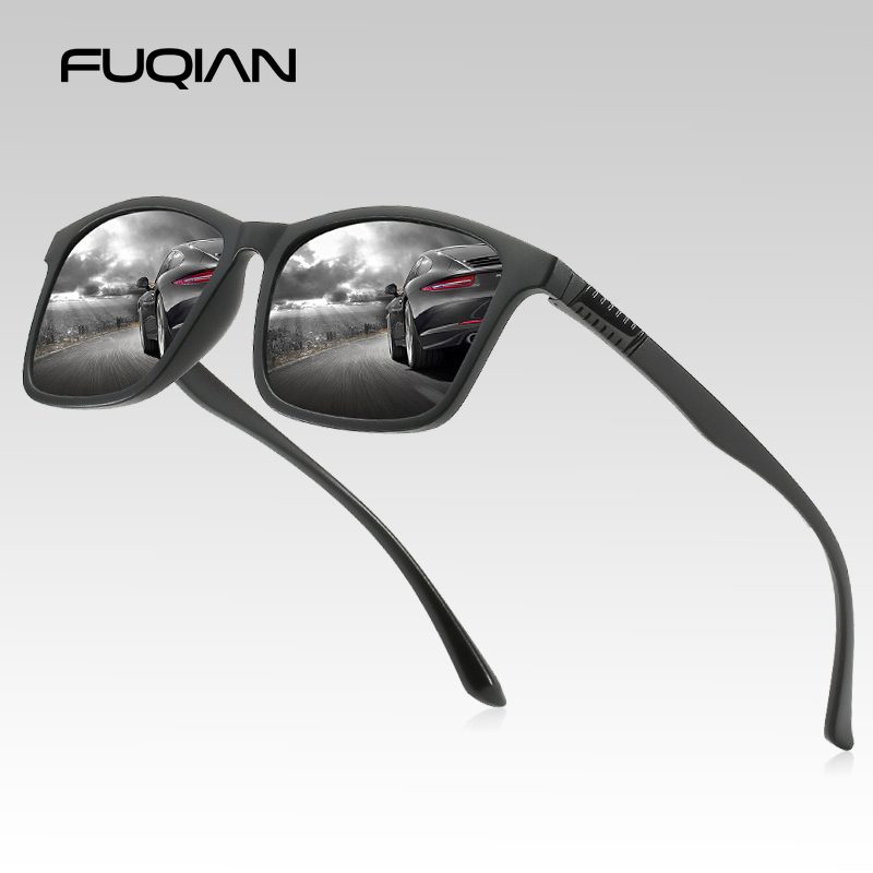 FUQIAN Light Weight TR90 Men Sun Glasses Classic Square Polarized Sunglasses For Male High Quality Driving Eyewear UV400