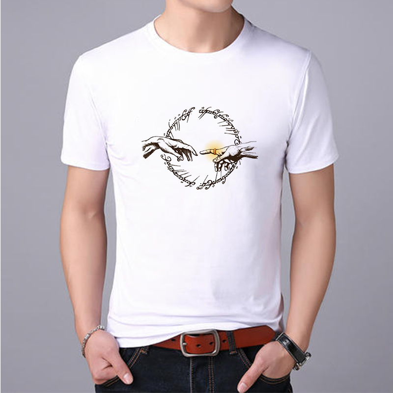 Lus Los  Lord Of The Rings T-shirt Round Neck Cotton Cute T-shirt Men's Classic Fashion Short-sleeved Print T-shirt Loose Casual