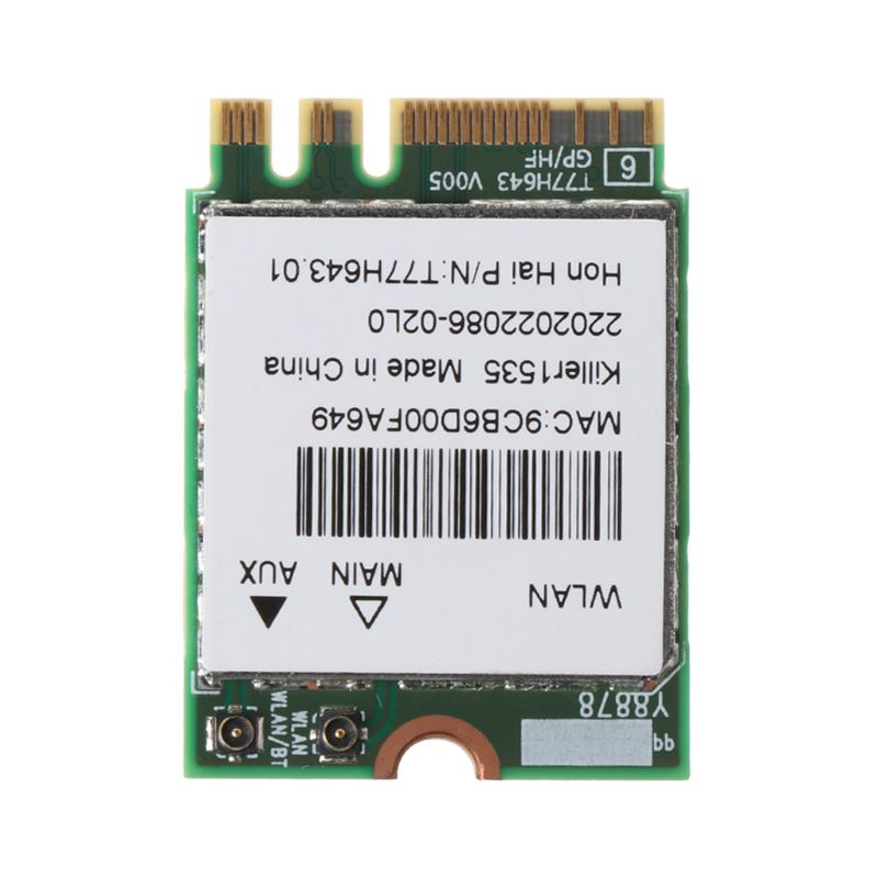 Killer 1535 1525 QCNFA364A AC M.2 NGFF WIFI Card Adapter For MSI GT72/GS60/GE62/GE72/PE60/PE70 For Dell Alienware