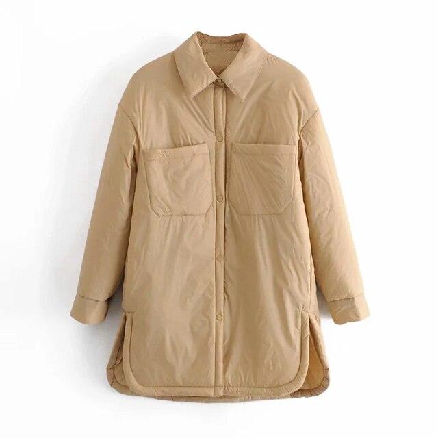 Za Women's Shirts Jackets Thin Parka Oversize Shirt Coats Femme Armygreen Outerwear Coats Bf Long Sleeve Khaki Coat trf 2021 5