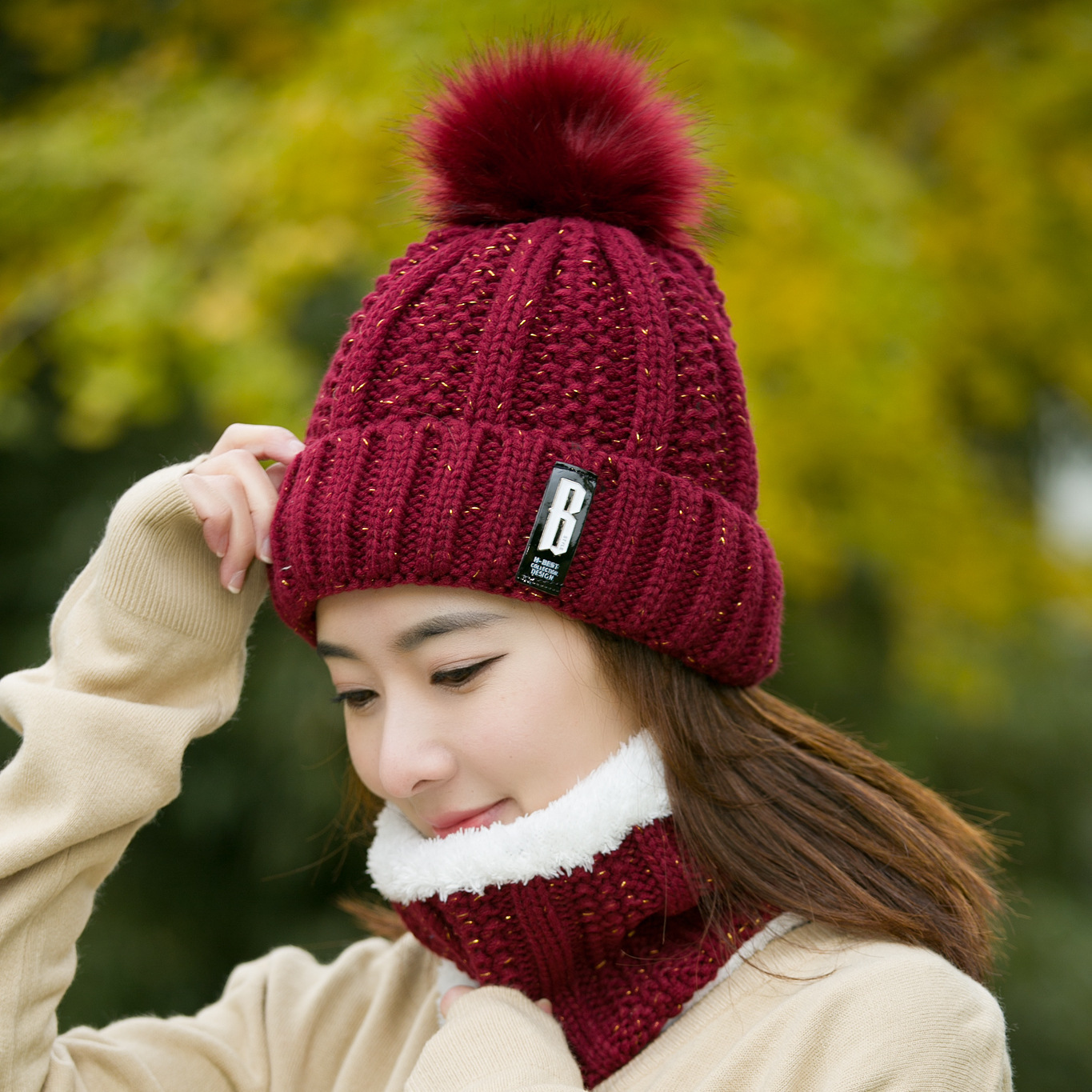Wool  Plus Thick Warm Knitted Ball Hat Neck Scarf Set Wind Proof Warm Fashion New Autumn And Winter Women Accessories