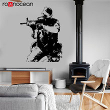 Modern Soldier Army Forces War Theme Wall Decal Vinyl Home Decor Room Gun Shooting Mural Art Decals Removable Wallpaper 3629