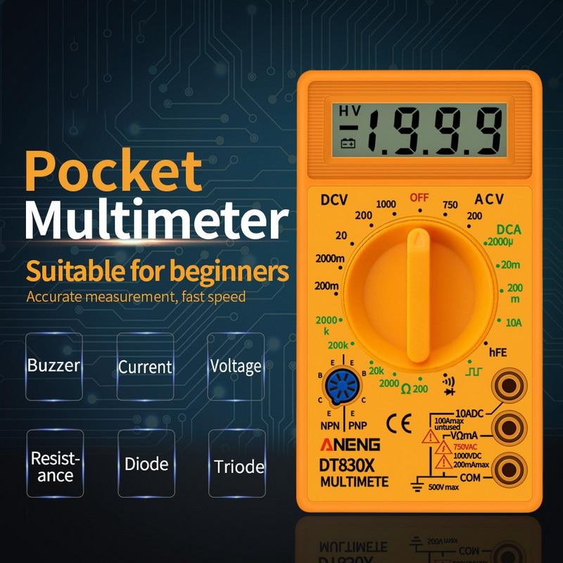 Digital Multimeter Voltmeter Ammeter Ohmmeter DC10V~1000V 10A AC 750V Current Tester Test LCD Display DT830B