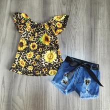 Recién llegados verano bebé niñas ropa infantil leopardo girasol denim shorts algodón leche seda superior volantes